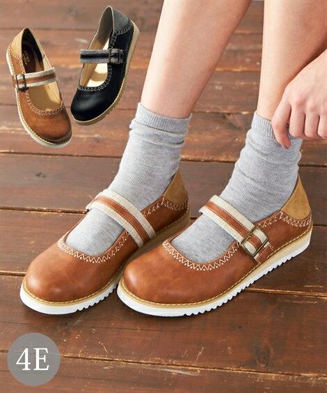 大きいサイズ 靴 レディース かかとが踏める ストラップ シューズ 低反発中敷 ワイズ4E キャメル/黒 25.0〜25.5cm ニッセン