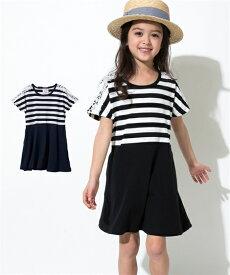 427a0a4f4cb66 ワンピース キッズ ボーダードッキング 女の子 子供服・ジュニア服 チュニック 黒系 身長100