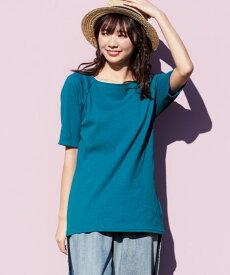 Tシャツ カットソー 大きいサイズ レディース 5分袖テレコ素材 トップス ピンク×黒 ボーダー /ブルーグリーン 無地 L〜10L ニッセン