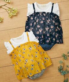 fe6fa57dcb85c ベビー 花柄キャミ重ね着風 半袖 ロンパース 女の子 子供服・ 服 カバーオール マスタード