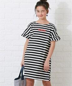 f7a20fc6cd81e ワンピース キッズ 袖フリルボーダー 女の子 子供服・ジュニア服 チュニック ブルー 黒 身長