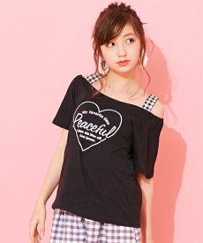 d5608a164226b Tシャツ カットソー キッズ ハート モチーフ オフ ショルダー 女の子 子供服・ジュニア服 トップス 黒