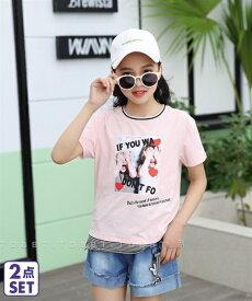 2de2f1a6b9b37 Tシャツ カットソー キッズ 上下セット + デニム ショート パンツ 女の子 子供服・ジュニア服