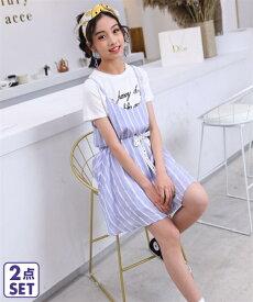 a2258b424f5e0 Tシャツ カットソー キッズ 2点セット +キャミ ワンピース 女の子 子供服・ジュニア服