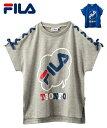 FILA Tシャツ カットソー キッズ フレンチスリーブ トップス 女の子 子供服 ジュニア服 スポーツウェア ブルー/杢グレ…