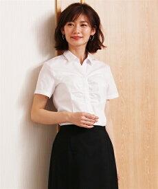 レディース 形態安定胸ギャザースキッパー 半袖 シャツ レギュラーバスト オフィス スーツ オフホワイト S/M/L ニッセン nissen
