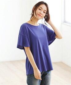 Tシャツ カットソー 大きいサイズ レディース 接触冷感袖フレア ブルー/黒 8L/10L ニッセン