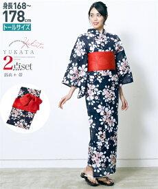 浴衣 トールサイズ レディース 2点セット ゆかた+作り帯 紺 桜 +赤 168cm〜178cm ニッセン