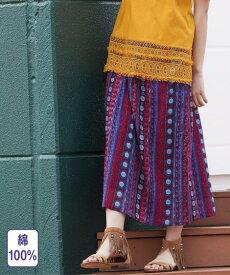 スカート ロング丈 マキシ丈 大きいサイズ レディース インド綿総柄 ロング 薄手素材 黒系/赤系 L〜10L ニッセン
