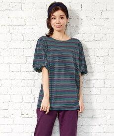 Tシャツ カットソー 大きいサイズ レディース 5分袖ボーダーバルーンスリーブ トップス ネイビー系/ピンク系 L〜10L ニッセン