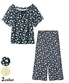パジャマ 上下セット 大きいサイズ レディース 半袖 ルームウェア ルームウエア イエロー花柄/ネイビー花柄 4L/5L/6L ニッセン