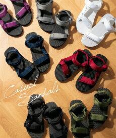 サンダル レディース スポーツ バンド 靴 カーキ〜赤 23.5/24.5cm ニッセン