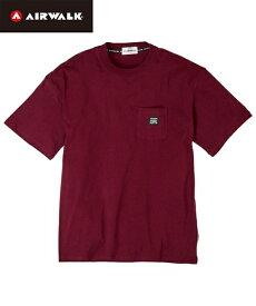 Tシャツ カットソー カジュアル メンズ AIR WALK エアウォーク 綿100% ポケット付き 半袖 トップス エンジ/ピンク/ベージュ/黒/白 M/L/LL ニッセン