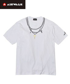 Tシャツ カットソー 大きいサイズ カジュアル メンズ AIRWALK エアウォーク ネックレス プリント 半袖 デオドラント テープ付き トップス 黒/白 LL/3L/4L/5L ニッセン