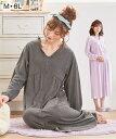 パジャマ マタニティ 大きいサイズ ママ 授乳 服 産前 産後 綿混スムース ギャザー切替え 前開き ネグリジェ チャコー…