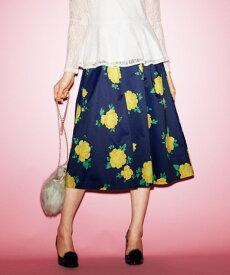 スカート ひざ丈 大きいサイズ レディース 花柄フレア ネイビー系 L〜10L ニッセン