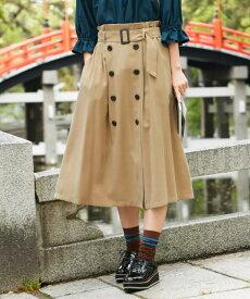 スカート ロング丈 マキシ丈 大きいサイズ レディース トレンチ風 共布 ベルト 付 ベージュ/黒 L〜10L ニッセン