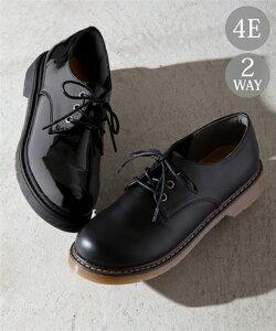 靴 大きいサイズ レディース 替え紐付 レース アップ シューズ 低反発中敷 ワイズ4E 黒エナメル/黒スムース 23.5〜24.0/24.0〜24.5cm ニッセン nissen