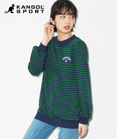 Tシャツ カットソー 大きいサイズ レディース 配色ボーダー トップス KANGOL SPORT ネイビー×グリーン/白×黒 8L/10L ニッセン