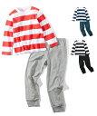 パジャマ キッズ 綿100% ボーダー プリント 男の子 女の子 子供服 ジュニア服 黒系+黒/紺系+紺/赤系+杢グレー 身…