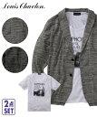 LouisChavlon カーディガン 大きいサイズ カジュアル メンズ 2点セット ニットソー 長袖 ショール ジャケット + プリ…