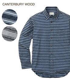 シャツ カジュアル 大きいサイズ メンズ CANTERBURY WOOD カンタベリーウッド オックス起毛ボーダー柄 長袖 トップス グレー系/ブルー系 3L/4L/5L ニッセン