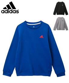 adidas スポーツウェア キッズ ワンポイント スウェット クルーネック 男の子 女の子 子供服 ジュニア服 ブラック/ブルー/杢グレー 身長130/140/150/160cm ニッセン