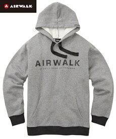 パーカー 大きいサイズ カジュアル メンズ AIR WALK エアウォーク 裏起毛ロゴ プリント 長袖 プル トップス 黒/杢グレー LL/3L/4L/5L ニッセン