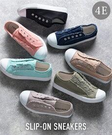 靴(シューズ) 【ゆったり幅広】ひもなしスリッポンスニーカー(ワイズ4E) ニッセン nissen