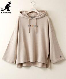 Tシャツ カットソー 大きいサイズ レディース カンゴール 綿100% ロゴ刺しゅうゆるラインプル パーカー アイボリー/インクブラック/ベージュ L ニッセン