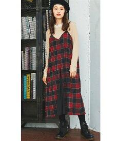 ジャンパー スカート 大きいサイズ レディース 異素材切替チェック柄 ワンピース 黒系/赤系 8L/10L ニッセン