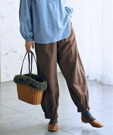 パンツ 大きいサイズ レディース 麻混9分丈裾絞りチェック柄 ブラウン系/黒系 8L/10L ニッセン