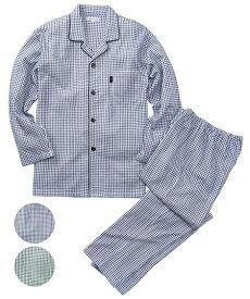 パジャマ 大きいサイズ カジュアル メンズ 両面 綿100% ギンガムチェック 柄キルティング 前開き 長袖 シャツ + ロング パンツ リラックス グリーン系/紺系 3L/4L/5L ニッセン