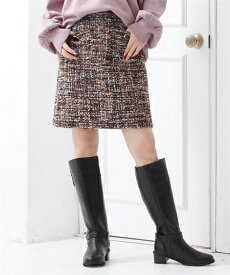 スカート ミニ 大きいサイズ レディース ツイード INCEDE パンツ ブラウン系/黒系 8L/10L ニッセン