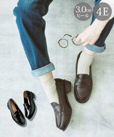ローファー 大きいサイズ レディース シューズ 低反発中敷 ワイズ4E 靴 黒 25/25.5cm ニッセン
