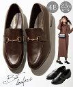 ローファー 大きいサイズ レディース ビット付 低反発中敷 ワイズ4E 靴 ブラウン/黒 25.0〜25.5cm ニッセン