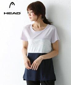 HEAD スポーツウェア トップス 大きいサイズ レディース ボタニカル プリント配色 Tシャツ ラベンダー/黒 3L/4L/5L ニッセン
