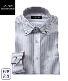 ワイシャツ メンズ 汗対策 GATSBY 部分パイル生地使用 形態安定 デザイン ボタンダウン グレー系ドット/ネイビー系ストライプ M/L/LL ニッセン