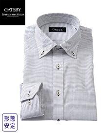 ワイシャツ メンズ 汗対策 GATSBY パイル生地使用 形態安定 デザイン ボタンダウン グレー系/グレー系ストライプ 3L/4L/5L ニッセン nissen