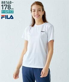 FILA スポーツウェア トップス トールサイズ レディース メッシュ 半袖 Tシャツ オフホワイト/黒 3L/4L/5L ニッセン