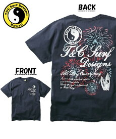 Tシャツ カットソー メンズ T&C Surf Designs タウン&カントリー 綿100% 花火 プリント 半袖 ネイビー/ブラック/ホワイト 3L/4L/5L/6L ニッセン