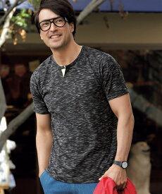Tシャツ カットソー メンズ スラブ杢 テレコ 杢ピンク/杢ブラック/杢ブルー 6L/7L/8L/10L ニッセン nissen