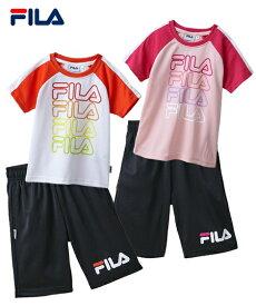 FILA スポーツウェア 上下セット Tスーツ 半袖 Tシャツ + ハーフ パンツ 女の子 子供服 ピンク/ホワイト 身長110/120/130cm ニッセン