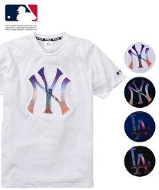 Tシャツ カットソー メンズ MAJOR LEAGUE BASEBALL エンボス加工 半袖 ネイビー/ブラック/ブルー/ホワイト M/L/LL ニッセン