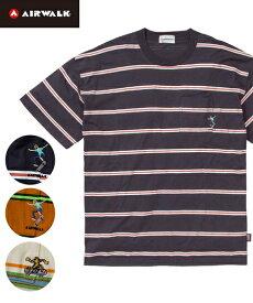 Tシャツ カットソー メンズ AIRWALK エアウォーク BIGシルエット スケーター 刺しゅうボーダー ポケット 半袖 オフホワイト/オレンジ/ネイビー M/L/LL ニッセン