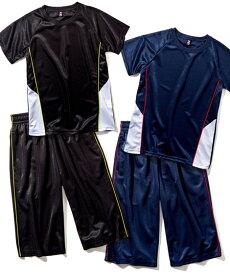 スポーツウェア 上下セット Tスーツ 半袖 Tシャツ + ハーフ パンツ 男の子 女の子 子供服 ジュニア服 ネイビー/ブラック 身長110〜160cm ニッセン nissen