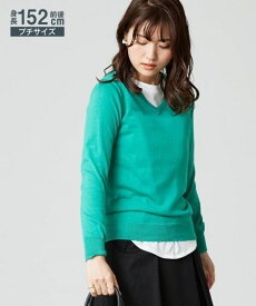ニット セーター 小さいサイズ レディース 綿混 Vネック オフホワイト/ロイヤルブルー/黒/杢グレー SS/S/M/L ニッセン nissen