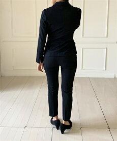 スーツ スカート 小さいサイズ レディース ウール調 細身 パンツ 冬 黒無地 3〜13号 ニッセン