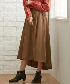 スカート ロング丈 マキシ丈 大きいサイズ レディース アシンメトリー タック フレア ブラウン/黒 8L/10L ニッセン