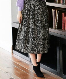 スカート ひざ丈 大きいサイズ レディース レオパード柄 ギャザー オフホワイト系/黒系 8L/10L ニッセン
